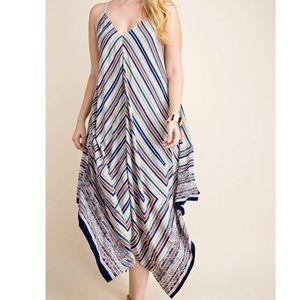 Dresses & Skirts - Plus Size Scarf Print Cami Dress - Peach/Blue Mix